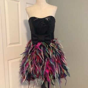 Jovani sequins and feathers